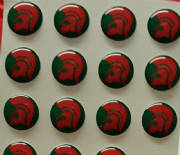Trojan Head Red and Green Background Hankie Pin 10mm